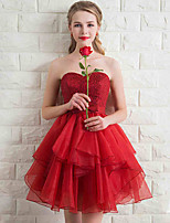 Short / Mini Lace / Organza Bridesmaid Dress A-line Sweetheart with Bow(s) / Sequins