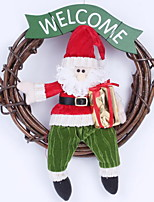 30cm Santa Claus Snowman Vine Christmas Wreath Door Ornaments Christmas Decorations (Random Shape)