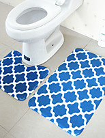 Modern Style Polyester 2PCs Bath Rugs Set (U-shaped Bath Rug,Rectangle Bath Rug)