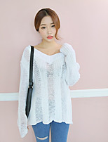 Women's Going out / Street chic Regular Pullover,Solid White V Neck Long Sleeve Cotton Spring / Fall Thin