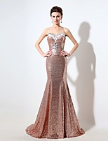 Formal Evening Dress Trumpet / Mermaid Sweetheart Court Train Sequined with Beading / Sequins / Crystal Brooch