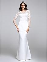 Lanting Bride® Havfrue Brudekjole Gulvlang Besmykket Sateng med Knapp / Blomsternål i krystall