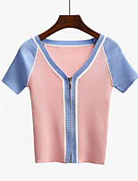 Women's Casual/Daily Street chic Cardigan,Color Block Blue / Pink / Black / Gray V Neck Short Sleeve Acrylic