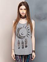 Herz Soul® Damen Rundhalsausschnitt Ärmellos T-Shirt Grau-24AD25242