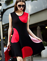ILOVEKNITTING  Women's Going out Vintage ,Polka Dot Round Neck Above Knee Sleeveless Black Others Spring