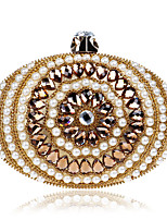 L.WEST Women's The Elegant Luxury Handmade Pearl Diamonds The Oval Evening Bag