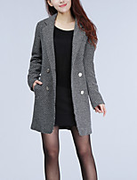 Women's Going out /  Street chic Coat,Polka Dot Shirt Collar Long Sleeve Fall / Winter Gray Wool / Polyester Thick