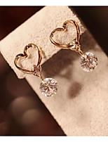 Women's Gold Bowknot Zircon Drpp Earrings