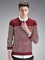 Мужской В полоску Пуловер На каждый день / Большие размеры,Хлопок,Длинный рукав,Черный / Синий / Красный / Серый