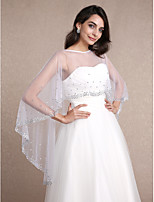 Women's Wrap Capelets Sleeveless Tulle White Wedding / Party/Evening Scoop 30cm Rhinestone Pullover
