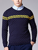 Men's Print Casual Pullover,Cotton Long Sleeve Blue / Gray