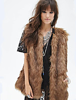 Women's Plus Size / Casual/Daily / Party/Cocktail Sexy / Simple Fur Coat,Solid V Neck Sleeveless Fall /