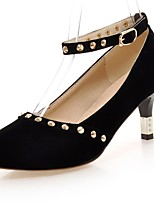Women's Shoes Fleece Summer / Fall Heels / Round Toe Heels Office & Career / Casual Cone Heel Rivet Black / Red
