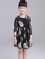 Girl's Casual/Daily Floral DressCotton Summer Black
