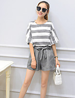 Women's Going out Simple Summer Set Pant,Striped Round Neck ½ Length Sleeve Gray Cotton / Polyester Medium