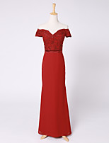 Formal Evening Dress Sheath / Column Off-the-shoulder Court Train Chiffon / Lace with Lace / Sash / Ribbon / Sequins