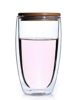 450ml Egg-shaped Blown Borosilicate Double-glass Heat Resistant Insulation Flower Cup Coffee Cup with Bamboo Cover