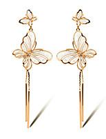 TIANSHE Women'S Korean fashion simple butterfly tassel long earrings Alloy 1 pair