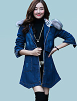 Women's Going out Street chic Coat,Solid Hooded Long Sleeve Winter Blue Polyester / Raccoon Fur Thick