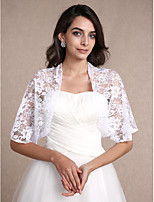 Women's Wrap Shrugs Half-Sleeve Lace White Wedding / Party/Evening / Casual Scoop 30cm Lace Open Front