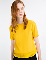 Women's Casual/Daily Sexy Summer T-shirt,Solid Round Neck Short Sleeve Yellow Polyester Medium