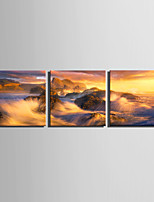E-HOME® Stretched Canvas Art The Sea Washes The Shore Decoration Painting  Set of 3