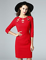 Boutique S Women's Casual/Daily Vintage Shift Dress,Solid Round Neck Above Knee ¾ Sleeve Red Polyester Fall
