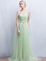 Formal Evening Dress A-line Off-the-shoulder Floor-length Tulle with Beading / Lace / Sash / Ribbon / Pleats