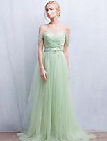 포멀 이브닝 드레스 A-라인 오프 더 숄더 바닥 길이 튤 와 비즈 / 레이스 / 허리끈/리본 / 주름