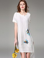 Boutique S Women's Going out Street chic A Line Dress,Print Round Neck Above Knee Short Sleeve White Linen Summer