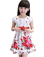 Girl's Casual/Daily Print Dress,Cotton Summer White