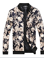 Spring Explosion Models Men'S Fashion Casual Long-Sleeved Flower Print Jacket Collar Jacket Male Fashion