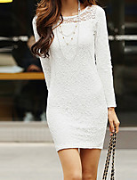 Women's Casual/Daily / Plus Size Simple Bodycon Dress,Solid Round Neck Above Knee Long Sleeve White / Black Cotton Spring Mid Rise