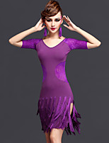 Latin Dance Dresses Women's Performance Rayon / Chinlon / Tulle Lace / Tassel 2 Pieces Black / Dark Purple / Royal Blue