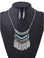 Retro Fashion Long alloy Leaf Tassel Diamond Necklace Set