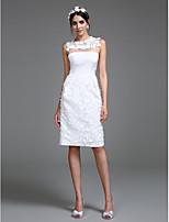 Lanting 신부 시스 / 칼럼 웨딩 드레스 무릎 길이 쥬얼리 쉬폰 와 꽃장식
