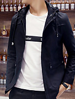 Men's Long Sleeve Casual Jacket,Polyester Solid Black / Blue / Red / White