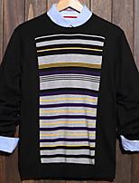 Men's Striped Casual Pullover,Cotton Long Sleeve Black / Purple / Gray