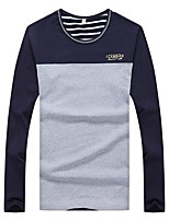 Men's Patchwork Casual / Sport T-Shirt,Cotton / Spandex Long Sleeve-Blue / White / Yellow / Gray