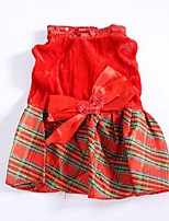 Chien Robe Rouge Hiver / Eté / Printemps/Automne Classique / Tartan / Noël Mariage / Noël / Saint-Valentin / Mode, Dog Clothes / Dog
