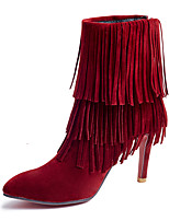 Women's Boots Winter Fashion Boots / Pointed Toe Dress Stiletto Heel Tassel Black / Red / Beige Others