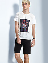 Men's Print Casual T-ShirtCotton Short Sleeve-White