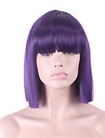 The New Cos Wig  Purple Neat Bang BOBO Short 12 Inch