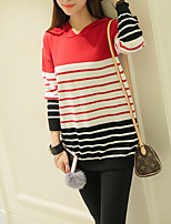 Women's Going out / Simple Short Pullover,Striped Red / Yellow Hooded Long Sleeve Cotton / Acrylic Spring / FallMedium