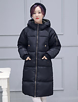 Women's Solid Black / Gray / Green Padded Coat,Simple Hooded Long Sleeve