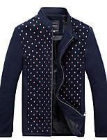 Men's Long Sleeve Casual / Work / Formal Jacket,Cotton / Spandex Solid Black / Brown / Green
