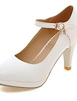 Черный / Розовый / Белый / Бежевый-Женский-Для офиса / На каждый день-Полиуретан-На шпильке-На каблуках / С круглым носком-Обувь на