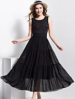 BORME® Women's Round Neck Sleeveless Solid Color  Maxi Dress-F162