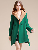 Women's Going out Sophisticated Coat,Solid Hooded Long Sleeve Fall / Winter Red / Brown / Green Polyester Thick