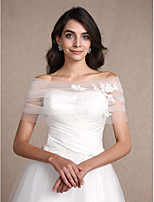 Women's Wrap Shrugs Sleeveless Tulle Ivory Wedding / Party/Evening Off-the-shoulder 30cm Appliques Clasp